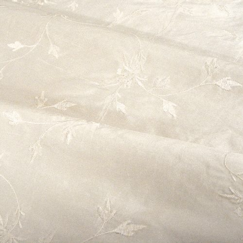 Embroidered Thai Silk - Cream