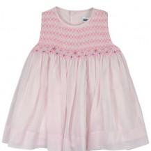 Pink sleeveless smocked dress