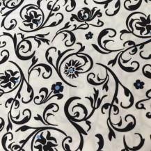 black, white and blue floral