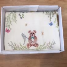 teddy bear catching butterflies blanket