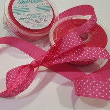 Grosgrain hot pink mini dot 22mm39