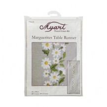 TRACED LINEN MARGUERITES RUNNER 40X100